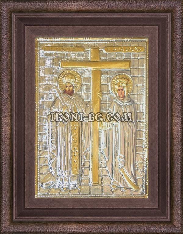 Сребърна икона на Св. Св. Константин и Елена