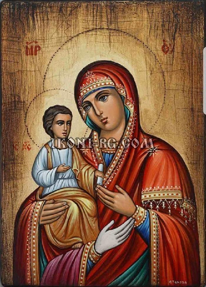 Рисувана икона на Света Богородица Троеручица