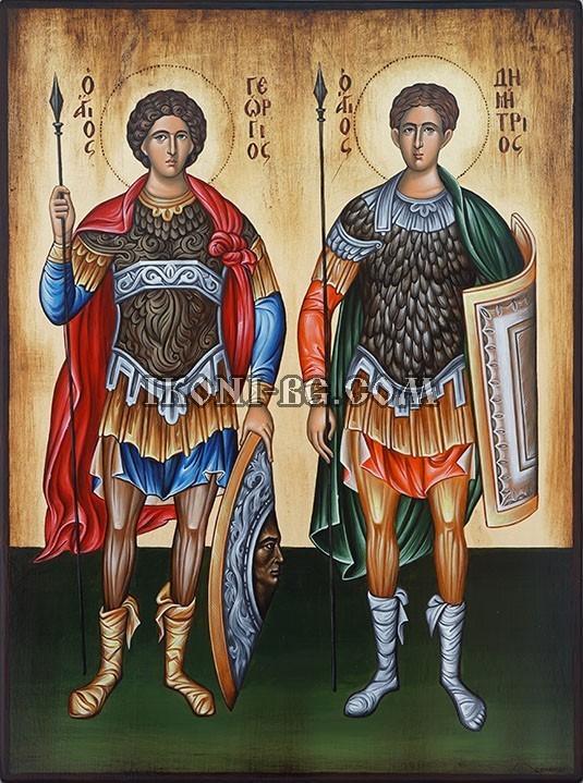 Рисувана икона на Свети Георги и Свети Димитър
