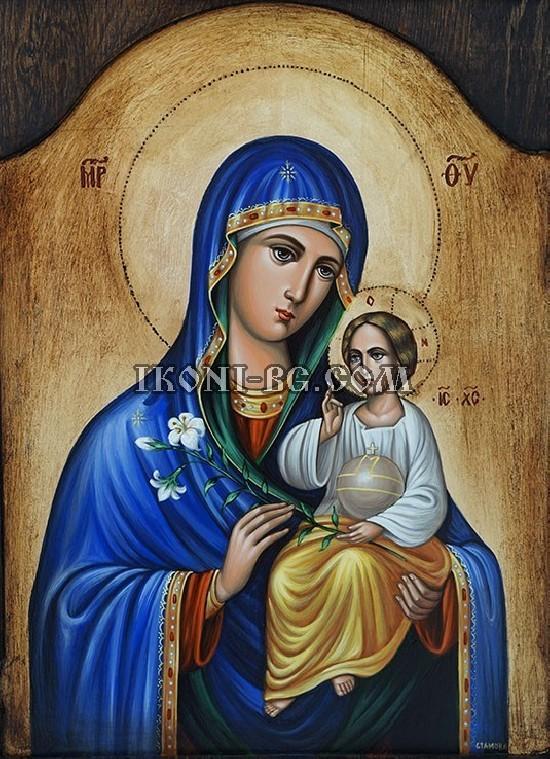 Рисувана икона на Света Богородица неувяхващ цвят