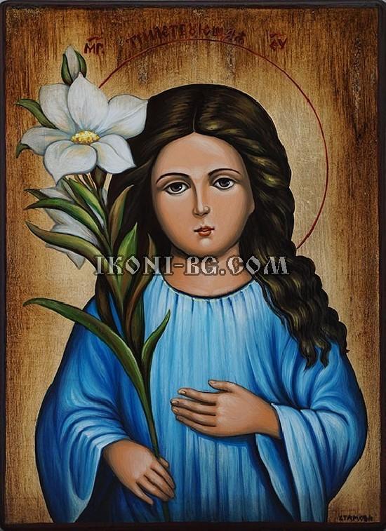 Рисувана икона на Света Богородица малка