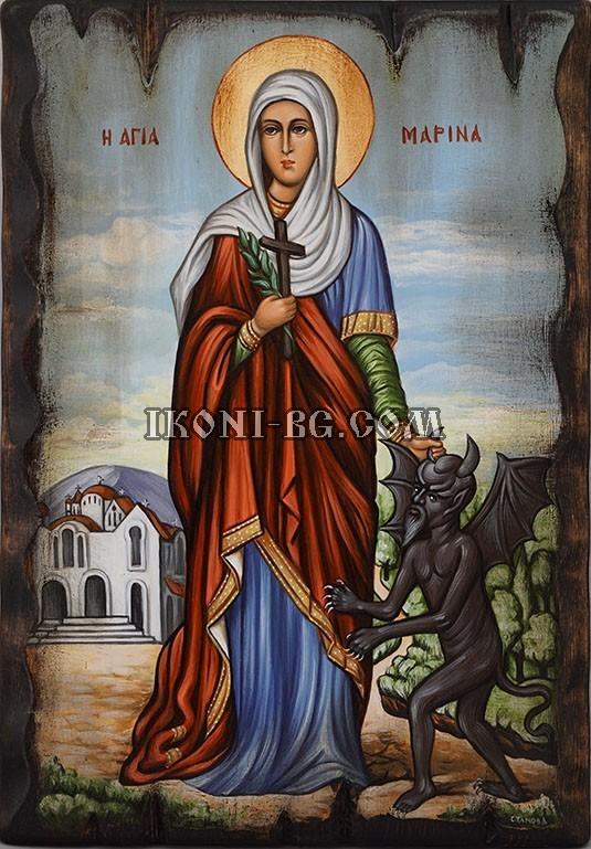 Рисувана икона на Света Марина