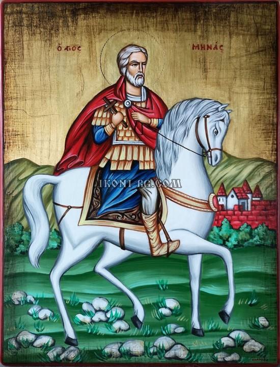 Рисувана икона на Свети Мина