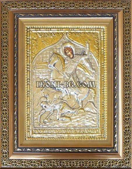 Сребърна икона Свети Димитър