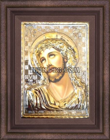 Сребърна икона Исус Христос Трънен венец
