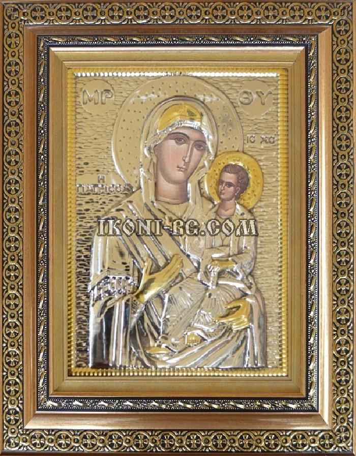 Икона на Св. Богородица сребърен обков