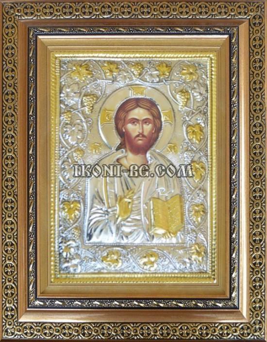 Сребърна икона Исус Христос