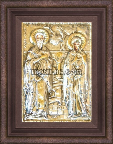 Сребърна икона на Св. Св. Киприан и Иустина