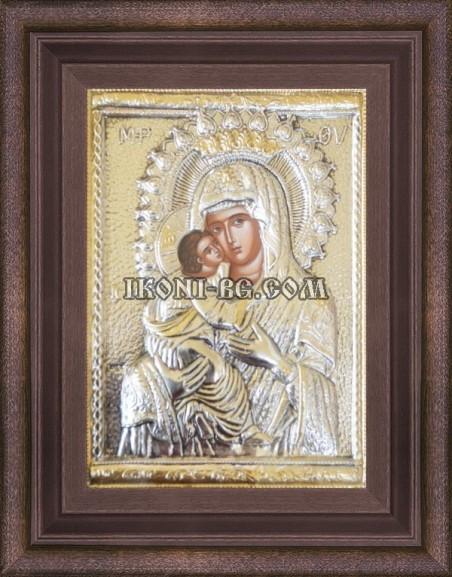 Сребърна икона на Света Богородица Сладка целувка