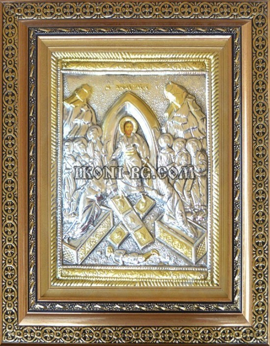 Икона Възкресение Христово сребърен обков