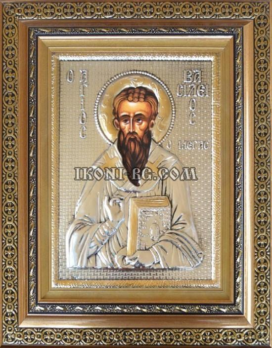 Сребърна икона на Свети Василий