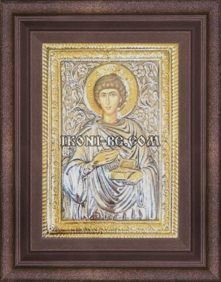 Сребърна икона на Свети Пантелеймон