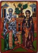 Рисувана икона на Св. Киприан и Св. Иустина